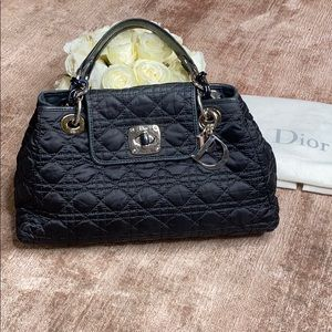 Dior Nylon and Leather Quilted Black Handbag